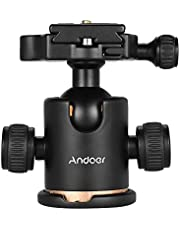 Andoer Stativ Kugelkopf 360 Grad Drehbar Panorama-Kugelkopf für Stativ Einbeinstativ Slider DSLR-Kamera mit 3pcs Schraube Adapter
