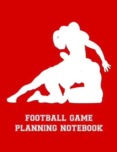 Football Game Planning Notebook: 2019-2020 Youth Coaching Notebook Blank Field Pages 12 Monthly Calendar Game Statistics Roster Strategy Play Organizer, Player Silhouettes in Pile on Red (Best Youth Football Defense)