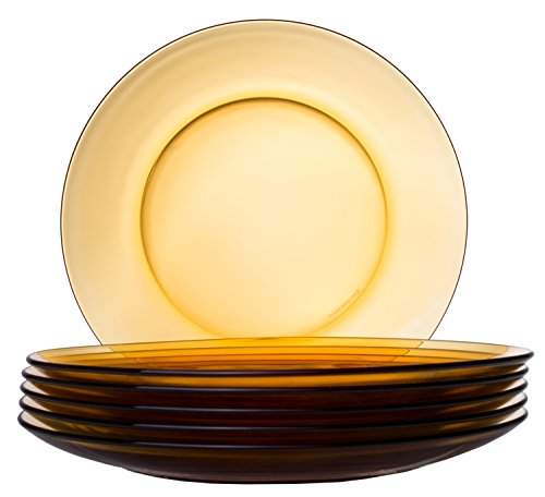 Classic Round Glass 6-Piece Dinner Plate Set, Orange (Collection Dinerware)