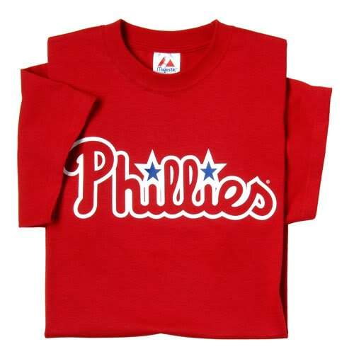 Philadelphia Phillies (ADULT XL) 100% Cotton Crewneck MLB Officially Licensed Majestic Major League Baseball Replica T-Shirt Jersey