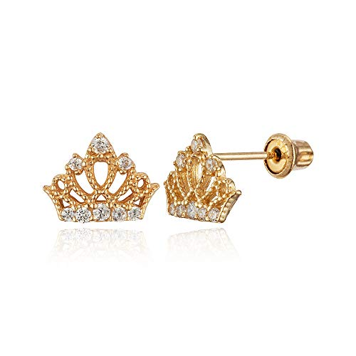 14k Yellow Gold Princess Crown Cubic Zirconia Children Screwback Baby Girls Stud Earrings ()