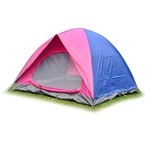 3 Person Waterproof Double Layer Tent for Outdoor Camping Hiking Travel (Hot Pink/ Royal Blue)