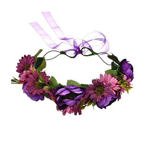 DDazzling Women Flower Headband Wreath Crown Floral Wedding