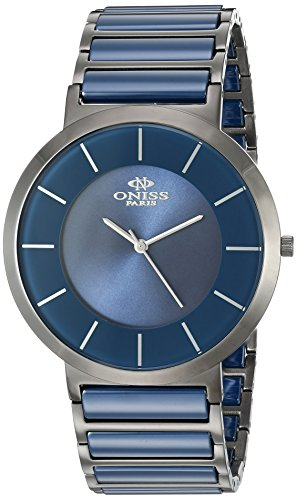 Oniss Swiss Movement - Oniss Paris Men's 'SLIM COLLECTION' Swiss Quartz Stainless Steel and Ceramic Dress Watch, Color:Blue (Model: ON5555-11M)