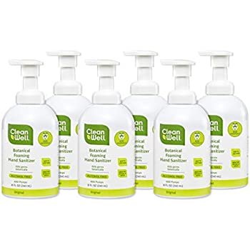 CleanWell Botanical Foaming Hand Sanitizer, Original, 8 fl oz (6 PK) - Alcohol Free, Antibacterial, Kid Friendly, Plant-Based, Nontoxic, Cruelty Free, Moisturizing Formula, Pump Bottle