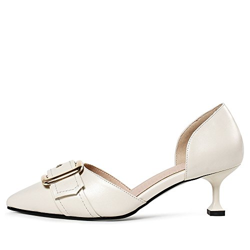 Nine Seven Genuine Leather Womens Pointed Toe Stiletto Heel Fashion Buckle Handmade Retro Pumps White YNAKU9YHt