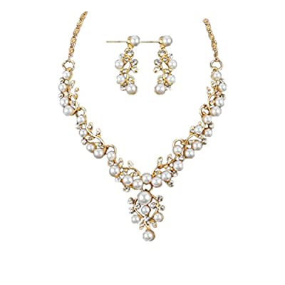 Napoo Clearance Lady Wedding Pearl Rhinestone Short Necklace+Earrings Jewelry Set