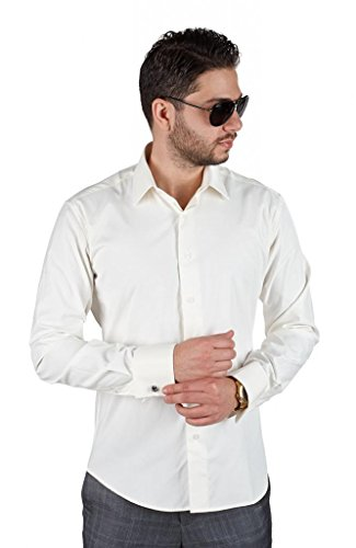 AZAR MAN Slim Tailored Fit Men's French Cuff Dress Shirt Spread Collar by (XLarge 17, Ivory/Off (Tailored Fit Formal Shirt)