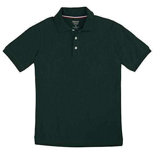 French Toast Big Boys' Short Sleeve Pique Polo, Hunter, Large/10/12 by French Toast