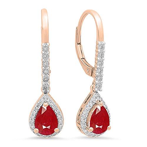 Dazzlingrock Collection 10K 7X5 MM Each Pear Gemstone Round White Diamond Ladies Dangling Drop Earrings, Rose Gold