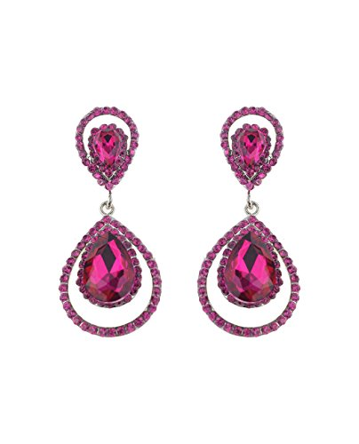 Dangling Gemstone Earrings (Oval Cut Teardrop Gemstone Rhinestone Accent Clip On Dangling Fashion Earrings - 55 Fuchsia)