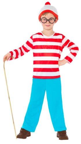 Wheres Wally Fancy Dress (Smiffy's Where's Wally Childrens Fancy Dress Costume - Small, 128 cm, Age 4-6...)