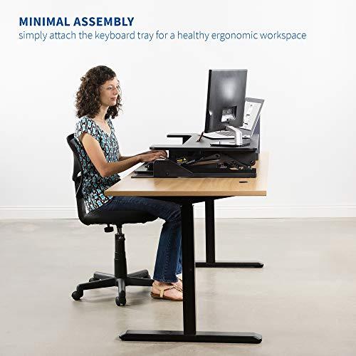 "VIVO Height Adjustable Standing Desk Sit to Stand Gas Spring Riser Converter   36"" Tabletop Workstation fits Dual Monitor (DESK-V000B)"