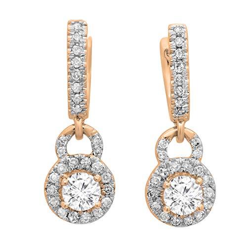 Dazzlingrock Collection 0.45 Carat (ctw) 14K Round White Diamond Ladies Halo Style Dangling Drop Earrings 1/2 CT, Rose Gold ()