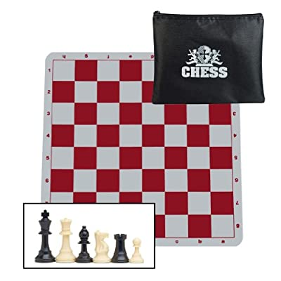 WE Games Ultimate Compact Tournament Chess Set with Red Silicone Chess Board