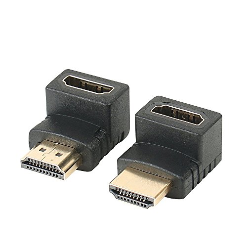 HDMI Right Angle Adapters, FEMORO HDMI Converter Connectors 90 Degree and 270 Degree Male to Female Connector for HDTV HDCP 3D&4K (2 Pack)