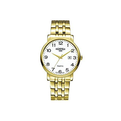 Roamer of Switzerland Men's 40mm Gold-Tone Steel Bracelet & Case Quartz White Dial Watch 709856 48 26 70