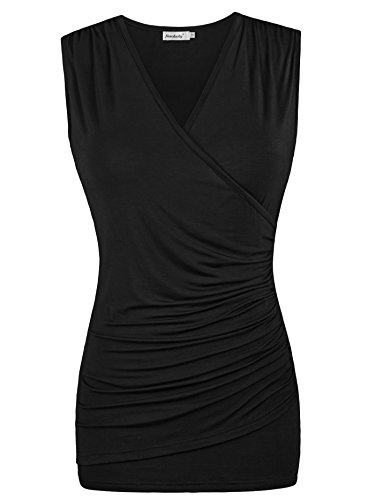 Women Black Tank Shirts,Ninedaily Summer V Neck Pleated Blouses for Work XL