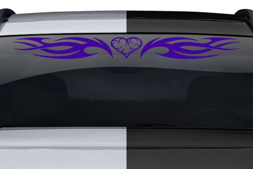 esign #118-01 Heart Tribal Flame Swoosh Windshield Decal Sticker Vinyl Graphic Back Rear Window Banner Tailgate Car Truck SUV Boat Trailer Wall | 36