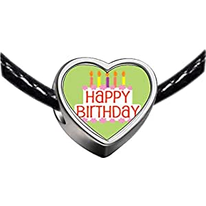 Chicforest Silver Plated Happy Birthday Green Photo Heart Charm Beads Fits Pandora Charm Bracelet