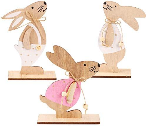 REUUY Decoración de Pascua de madera de conejos, decoración de Pascua, juego de 3 unidades, decoración de Pascua, jardín…