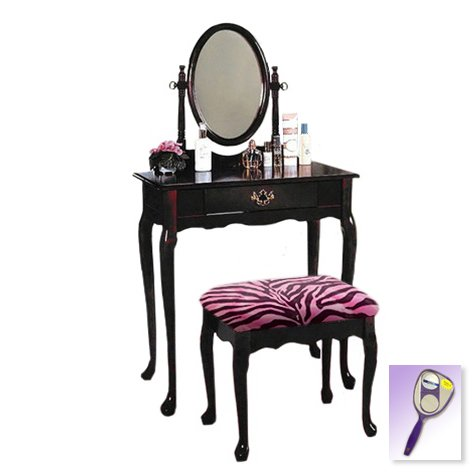 New Cherry Finish Queen Anne Make Up Vanity Table with Mirror & Pink Zebra Faux FurThemed (Cherry Finish Dressing Chest)