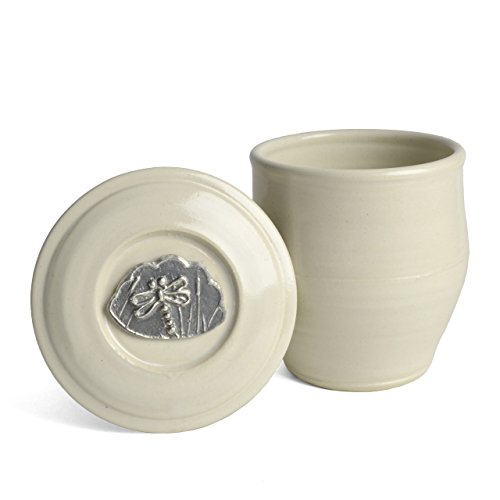 Oregon Stoneware Studio Dragonfly French Butter Crock, Whipping Cream
