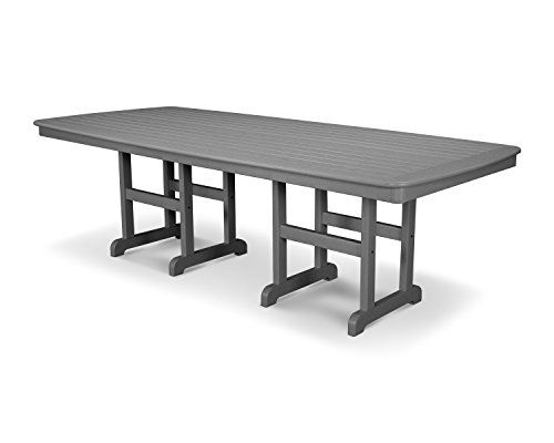 POLYWOOD Nautical 44-Inch by 96-Inch Dining Table, Slate Grey