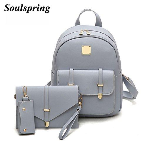 Amazon.com | Fashion Composite Bag Pu Leather Backpack Women Cute 3 Sets Bag School Backpacks For Teenage Girls Black Bags (Light Blue) | Kids Backpacks