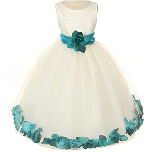Little Girls Ivory Bridal Satin Bodice Double Layer Tulle Skirt Teal Organza Sash Flower Petals - Size 6 -