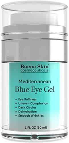 Intensive Mediterranean Blue Eye Cream Gel by Buena Skin- Diminish Puffiness, Wrinkles, Dark Circles - Smooth and Firm Eye Area - Made with Mediterranean Blue Algae Extract - 1 fl. oz.