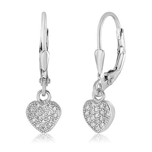 UNICORNJ Children's Tweens Sterling Silver 925 Cubic Zirconia Pave Heart Dangle Leverback Earrings Italy (Earrings Heart Leverback Childrens)