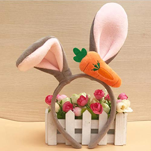 (SHHS Easter Bunny Rabbit Headband Rabbit Ear with Carrot Headwear for Children Easter Party Favor Cosplay Accessories)