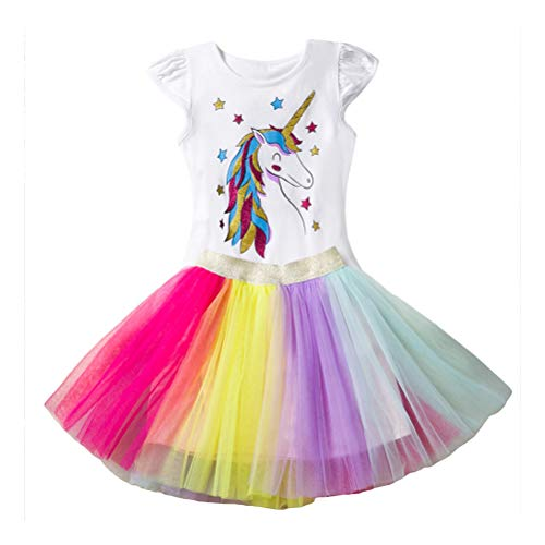 Little Girl Unicorn Dress Outfits Fly Sleeve Shirt Top Colorful Lace Tutu Skirts 2pc Set