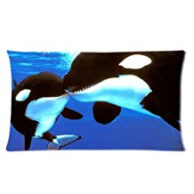 Funny Cute Lover Couples Black Killer Whale Orca Kiss Jaws Custom Cotton Polyester Soft Rectangle Zippered Pillow Case Cover 20*30 inches (Two Sides)