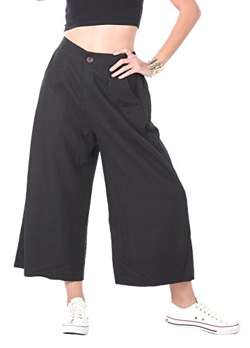 CandyHusky-100-Hemp-Elastic-High-Waist-Culottes-Cropped-Palazzo-Wide-Leg-Pants