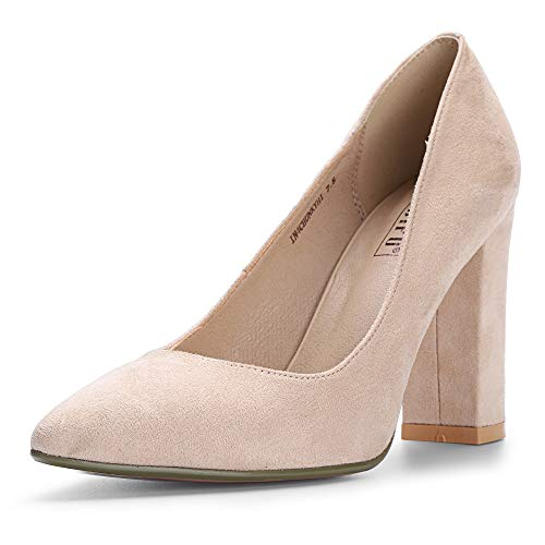 IDIFU Women's IN4 Chunky-HI Classic Closed Pointed Toe Pumps High Chunky Block Heels Dress Office Shoes (Nude Suede, 5 M US)