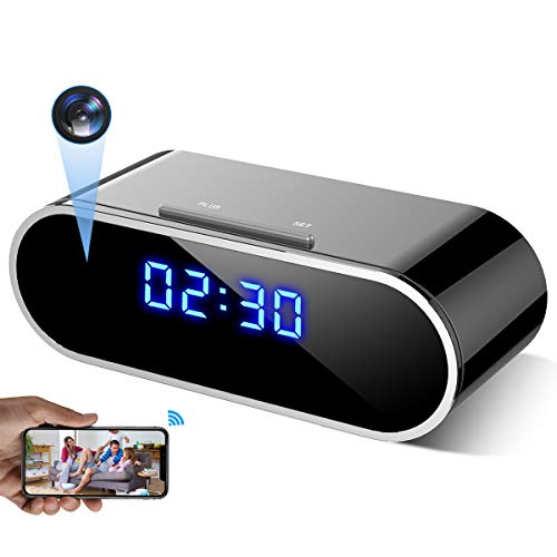 WEMLB EL-726 HD 1080 P WiFi Hidden Camera Alarm Clock Night Vision/Motion Detection/Loop Recording Wireless Security Camera for Home Surveillance - Spy Cameras