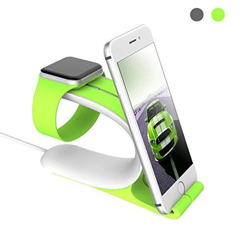 CHEEDAY for Apple Watch Stand and iPhone Stand Charging Dock Holder Station for Apple Watch iPhone...