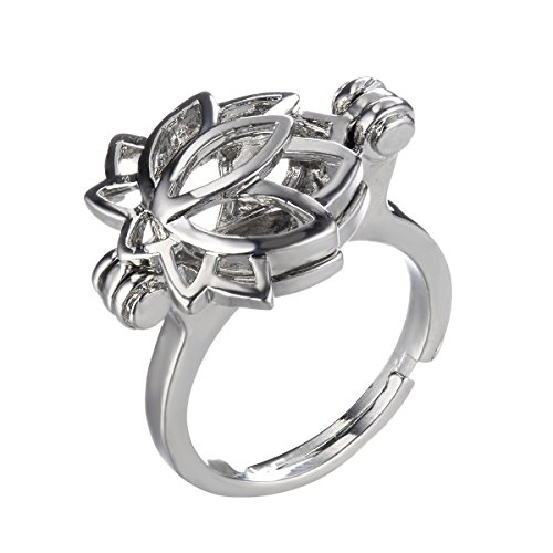 e Hollow Locket Ring Adjustable Cage Ring Mountings Pearl Oyster (Silver) (Vintage Ring Mounting)