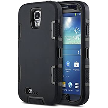 Galaxy S4 Case, Knox Armor S4 Case - ULAK Shockproof Hybrid Rubber Combo Case Cover 3in1 Rigid Plastic+Soft Silicone for Samsung Galaxy S4 IV i9500-Black