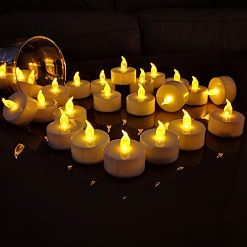 TEECOO Battery Tea Lights Electric Candles Flickering Realistic Flameless LED Tealights Long Lasting Operated Candles in Yellow 50pcs Decoration for Party and Gifts Ideas