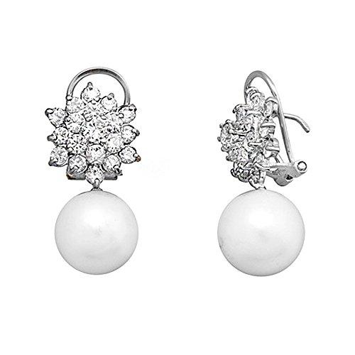 Boucled'oreille 18k blanc perle d'or zircons longue présure [AA6413]