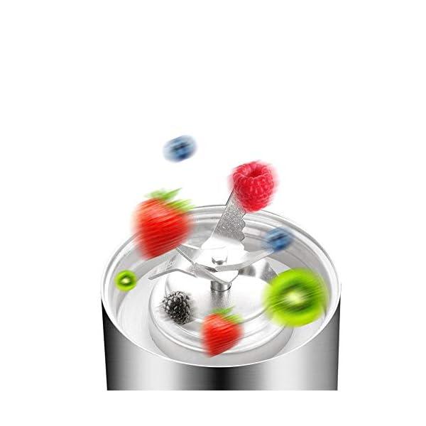 AZLMJXH 380ml spremiagrumi Portatile, Multi-Funzione di Taglio Miscelatore Ricarica 6-Lama Tazza Macchina Succo di… 4 spesavip