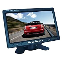 PrimeCables 7 inch TFT LCD 2 Video Input Digital Color Screen Monitor for Car Rear View Reverse Reversing Backup Camera With Remote and Stand (Blue & Black)