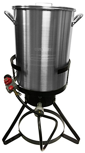 Bioexcel Propane Aluminum Outdoor Deep Turkey Fryer 30 QT - Fryer kit with hook