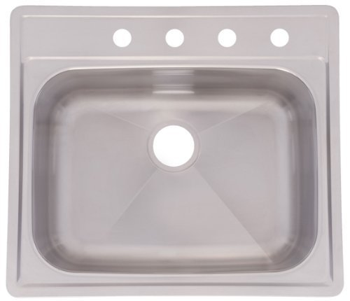 FrankeUSA SSKD104NB 4-Hole Single-Bowl Top Mount Kitchen Sink, Stainless Steel by Franke USA