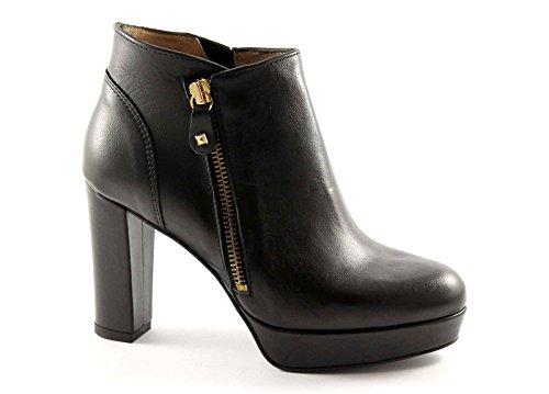 IGI & CO 29010 schwarze Schuhe Frau Stiefeletten Lederabsatz zip Nero