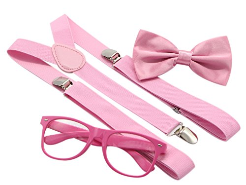 JAIFEI Hipster Nerd Outfit | Whimsical Sunglasses + Adjustable Suspenders + Bowtie Set | For Costume Parties & Hip Events (Pink)
