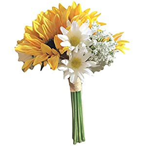 Yellow Silk Sunflowers, Daisies & Baby Breath Bouquet, 9.5 inches tall 4